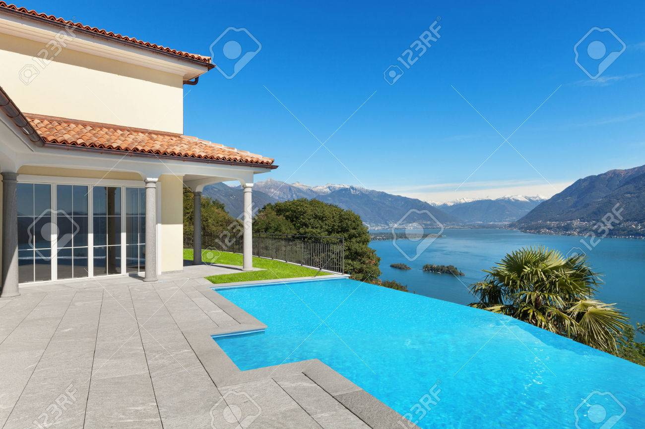 Lake Maggiore, view from the terrace of an a house with pool Archivio Fotografico - 51639325