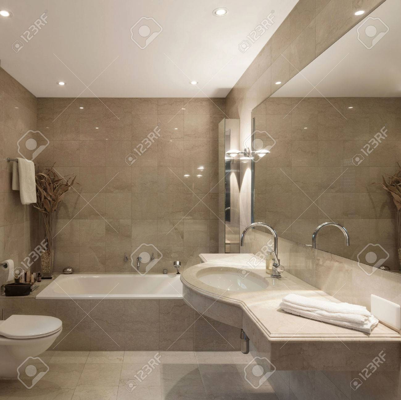 Interior Of A Modern House Bathroom Classic Design Stock Photo