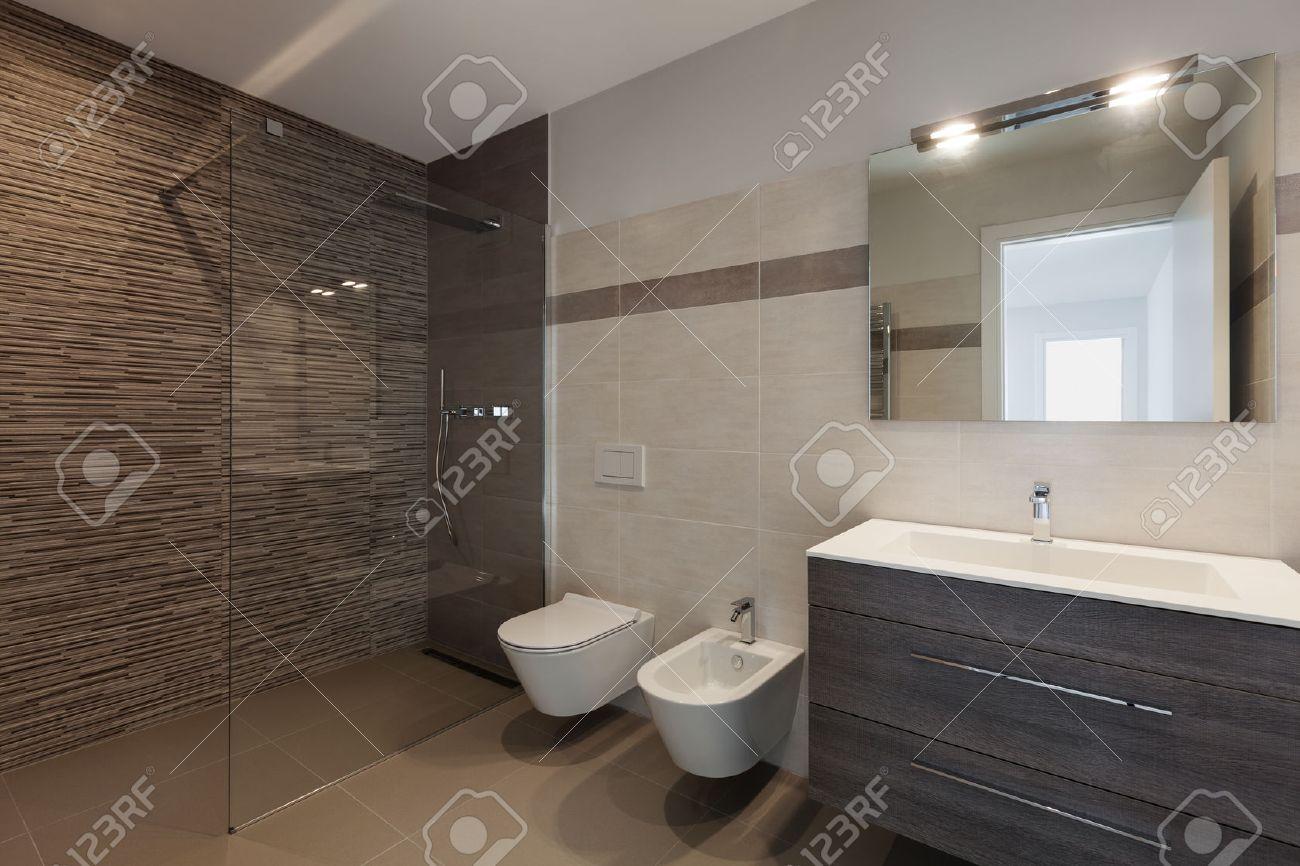 interior of new apartment, modern bathroom with shower Archivio Fotografico - 52266930