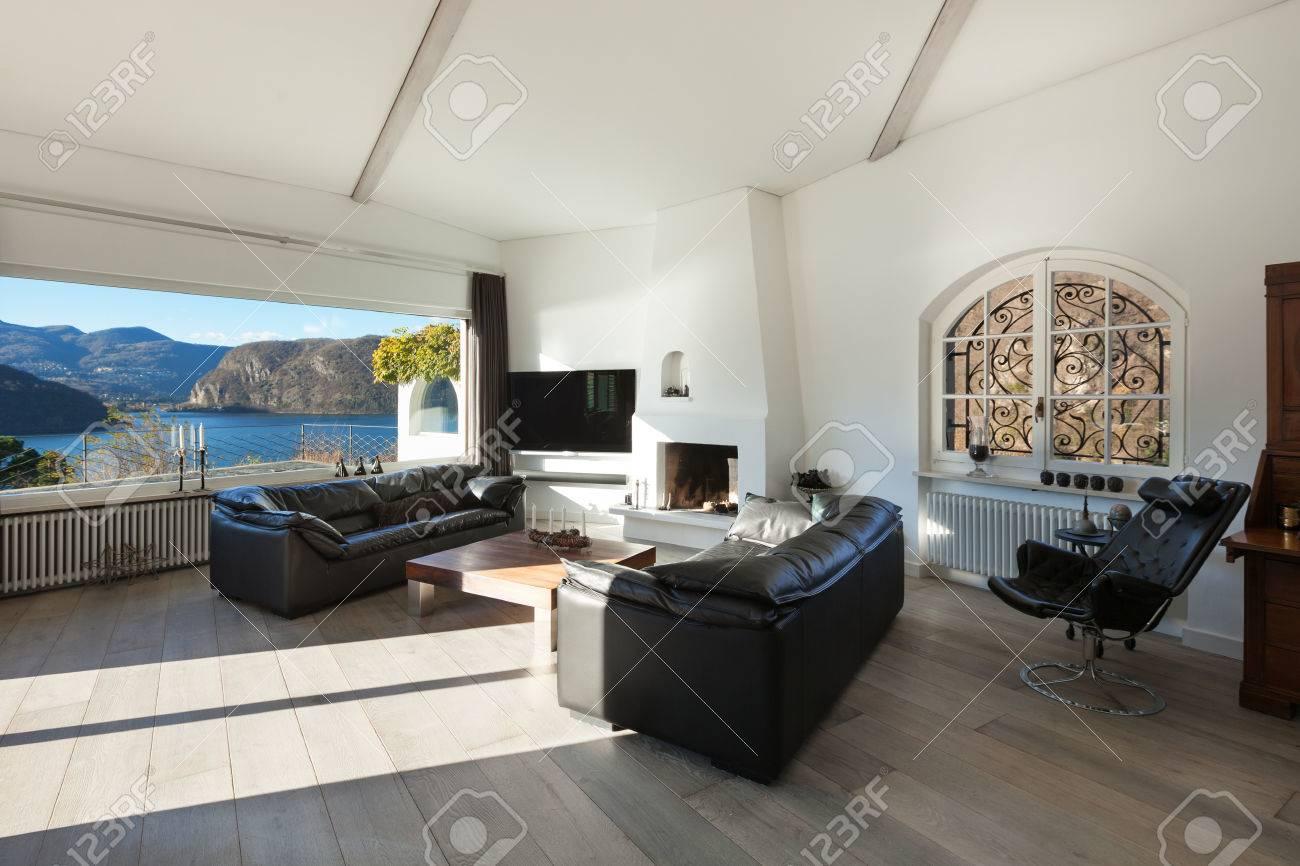 Interieur Des Hauses Moderne Und Komfortable Wohnzimmer Mit Großen