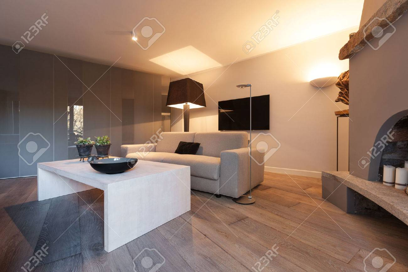Interior of house, modern comfortable living room with fireplace - 52267080