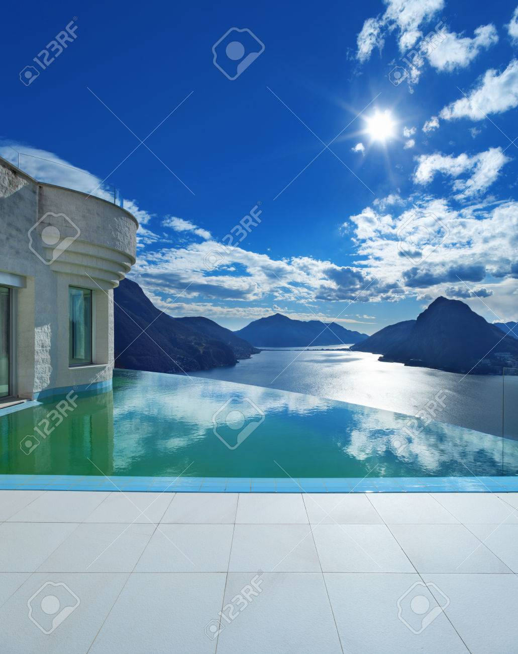 Beautiful Landscape From A Modern House With Infinity Pool Stock