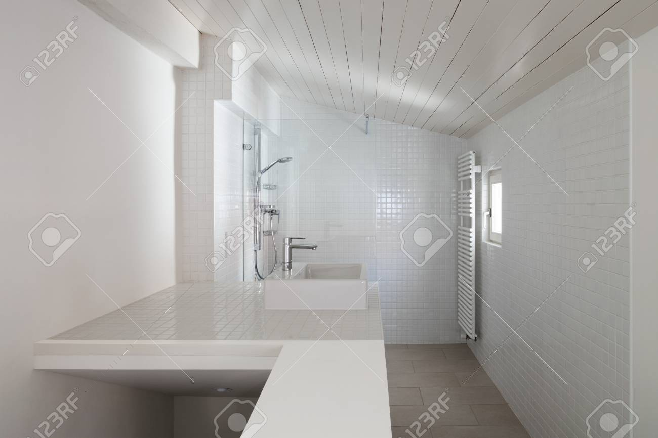 Architecture, Bathroom Of Old Loft, Tiled Walls Stock Photo, Picture ...