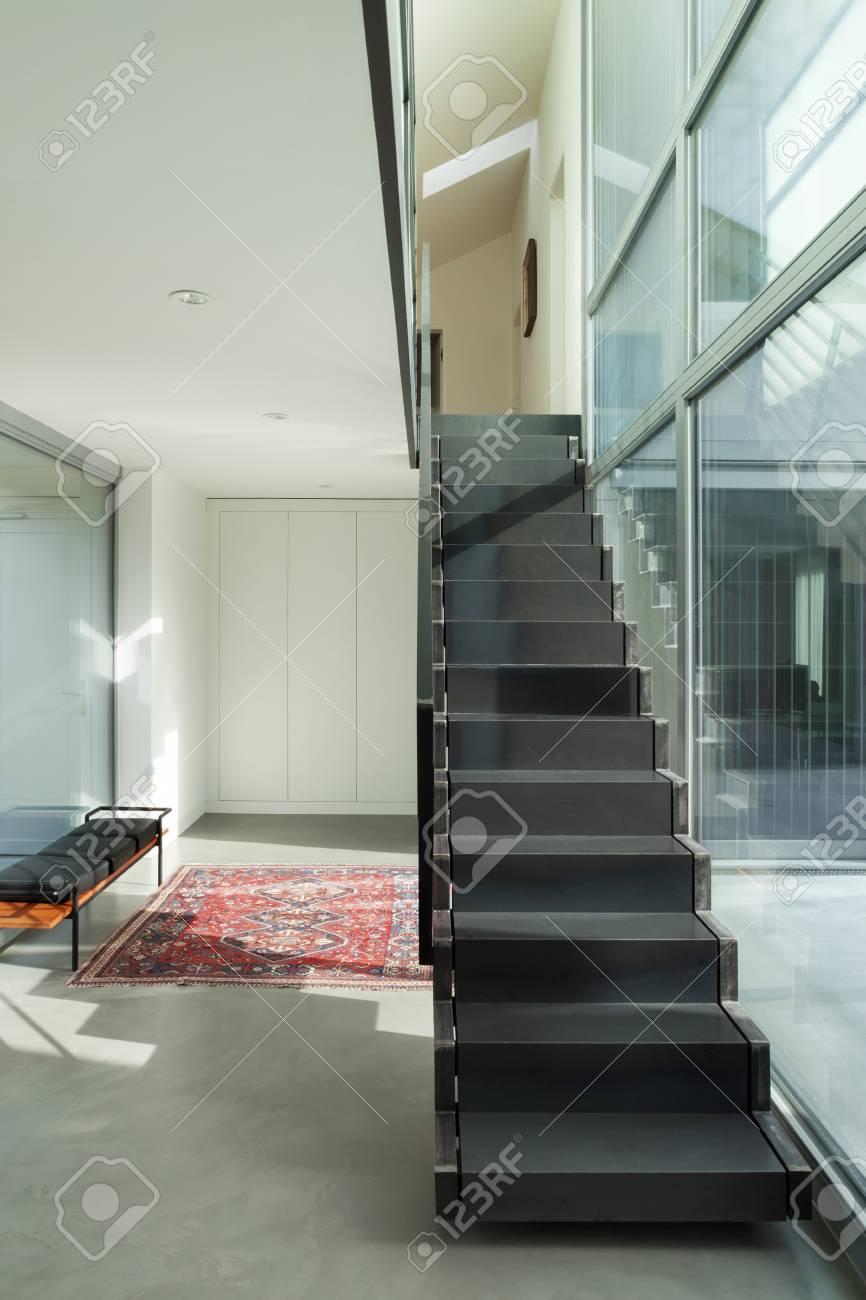 Maison Avec Passerelle Intérieure intérieur d'une maison moderne, hall d'entrée avec escalier en fer