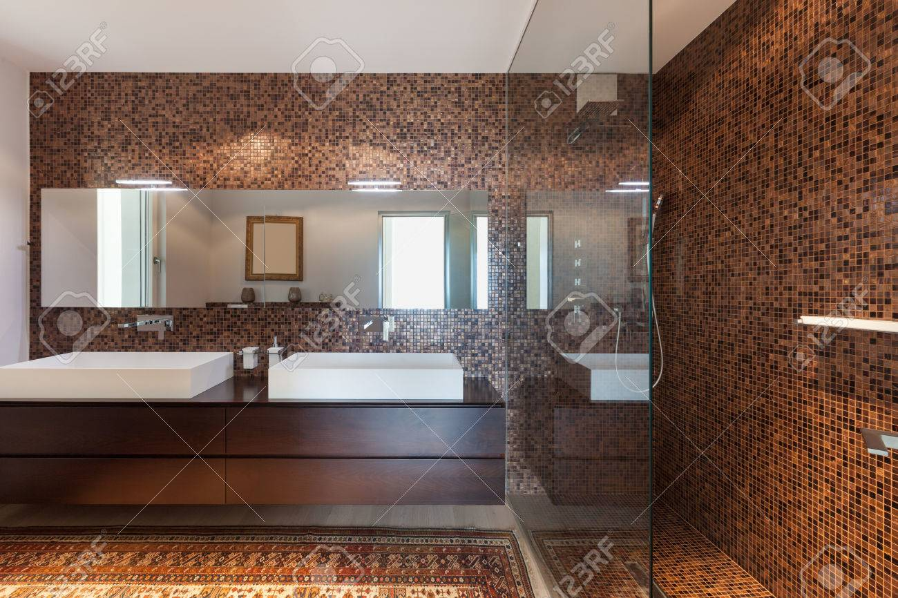 Interiors Of New Apartment, Bathroom With Tiled Walls Stock Photo ...