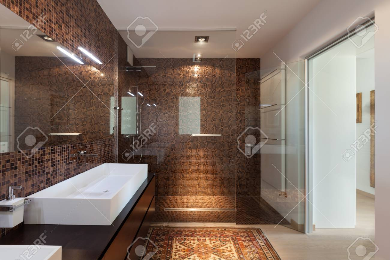 Interiors Of New Apartment, Bathroom, Tiled Walls Stock Photo ...