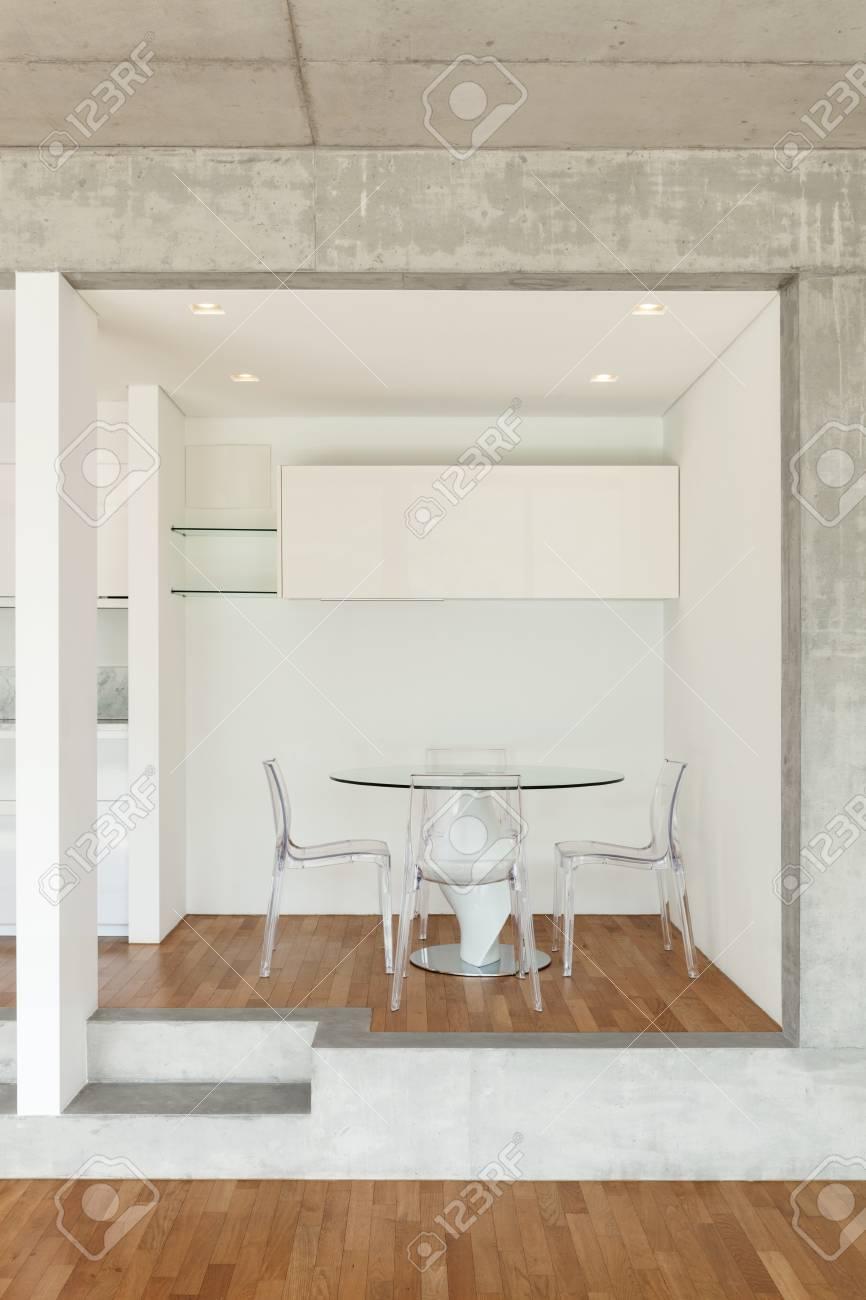 Innenraum Der Modernen Kuche Aus Beton Wohnung Mit Parkettboden
