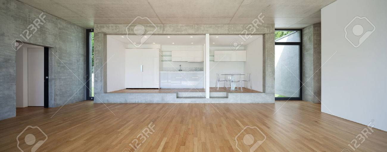 Interior of modern kitchen of concrete apartment with parquet floor Archivio Fotografico - 57417468