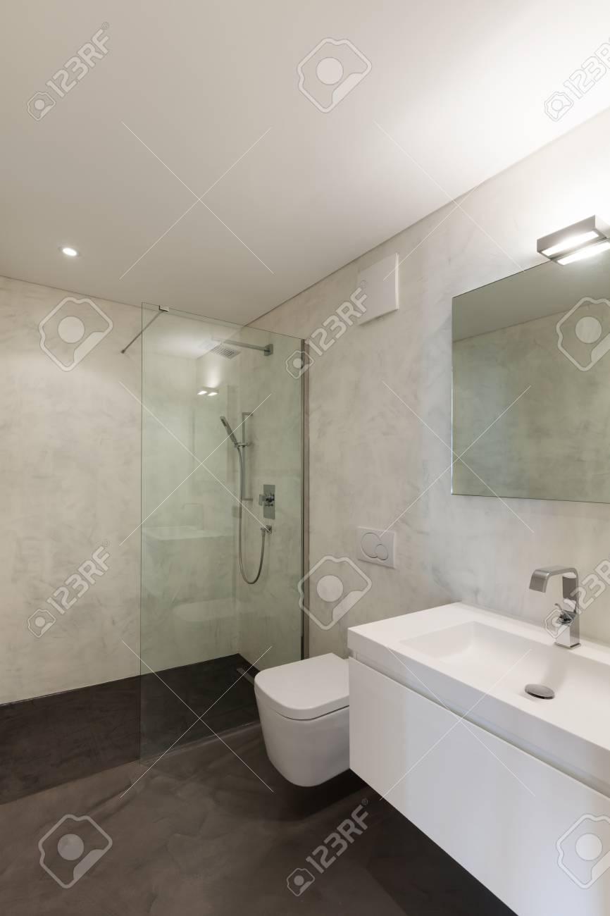 Intérieur de l\'appartement, salle de bains moderne avec lavabo et douche