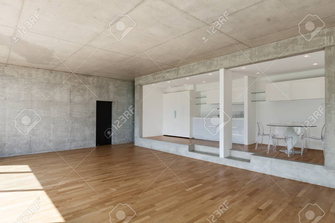 Interieur, Moderne Küche Aus Beton Wohnung, Parkettboden Lizenzfreie ...