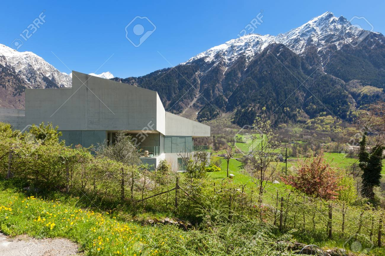 Architecture modern design concrete house exterior stock photo 59000244