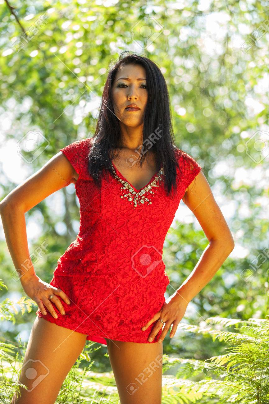 Mature Asian Woman With Red Dress Stock Photo 59668435