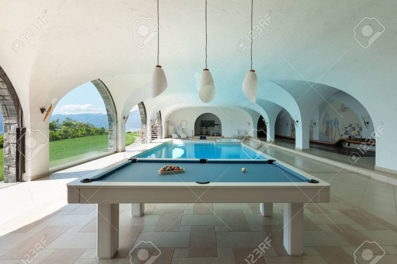 Luxury house, indoor swimming pool with billiard