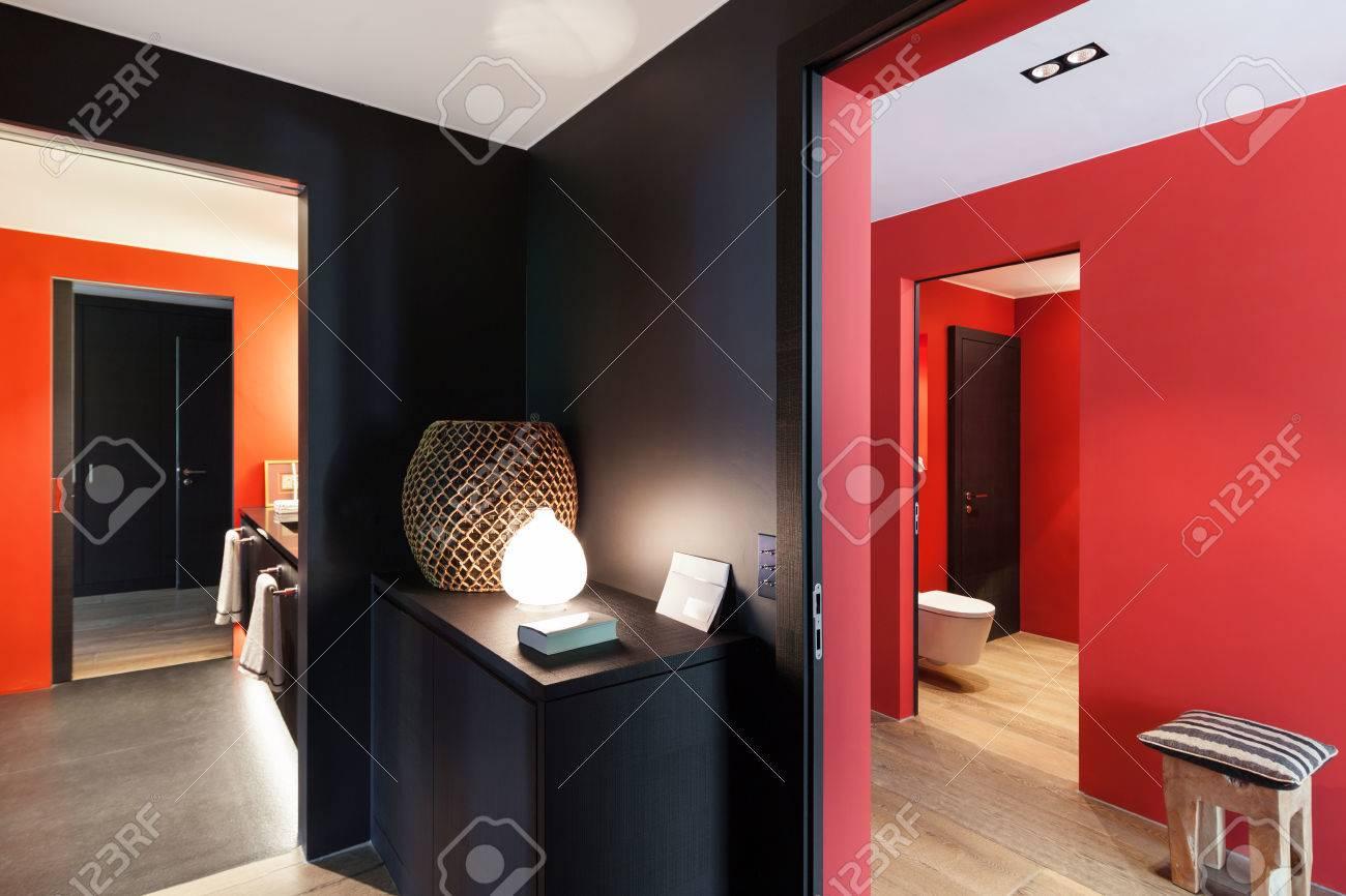Interior Vestíbulo De Una Casa Moderna Piso De Madera