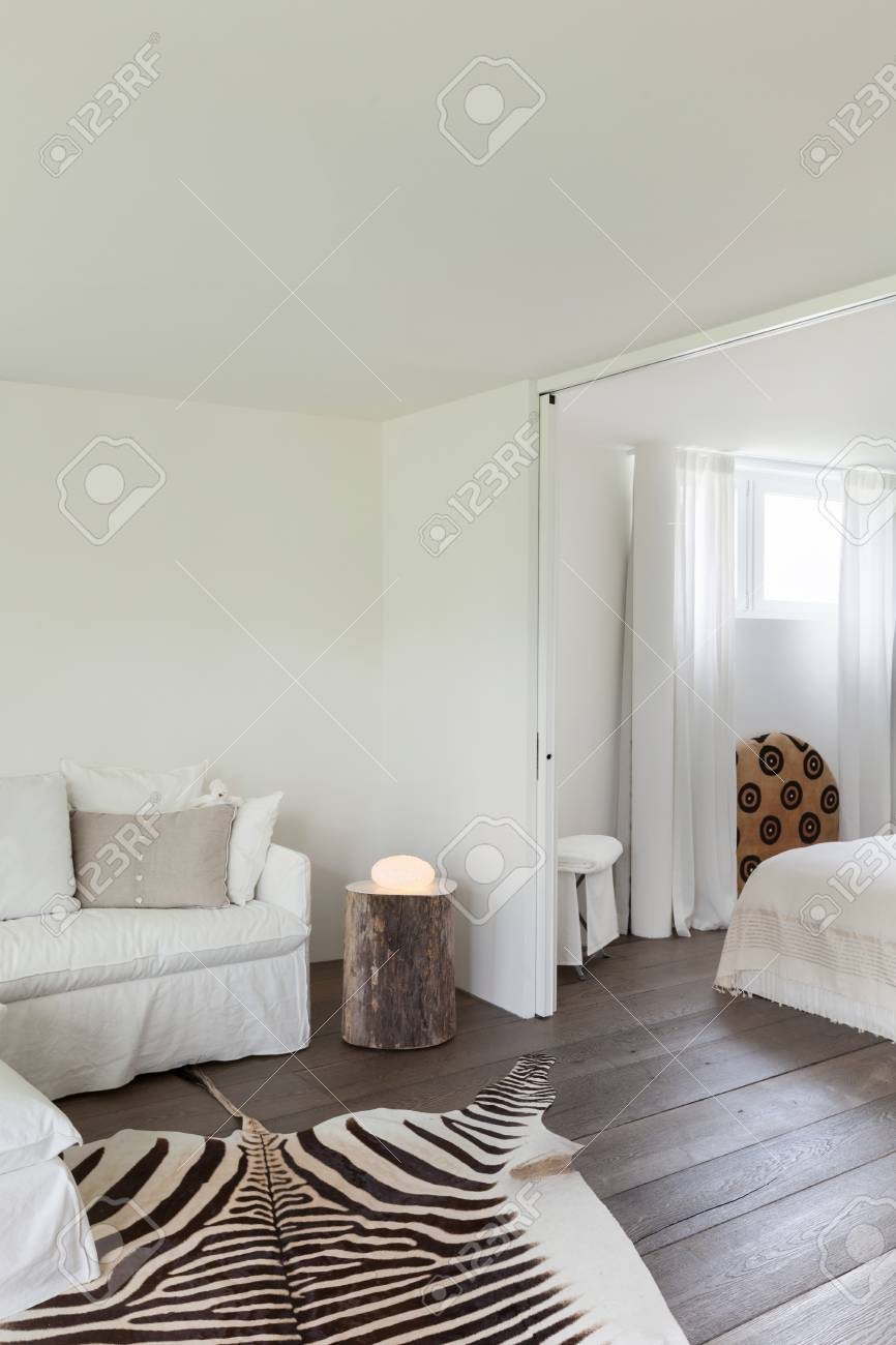 living room and bedroom, leather zebra on the floor, white walls