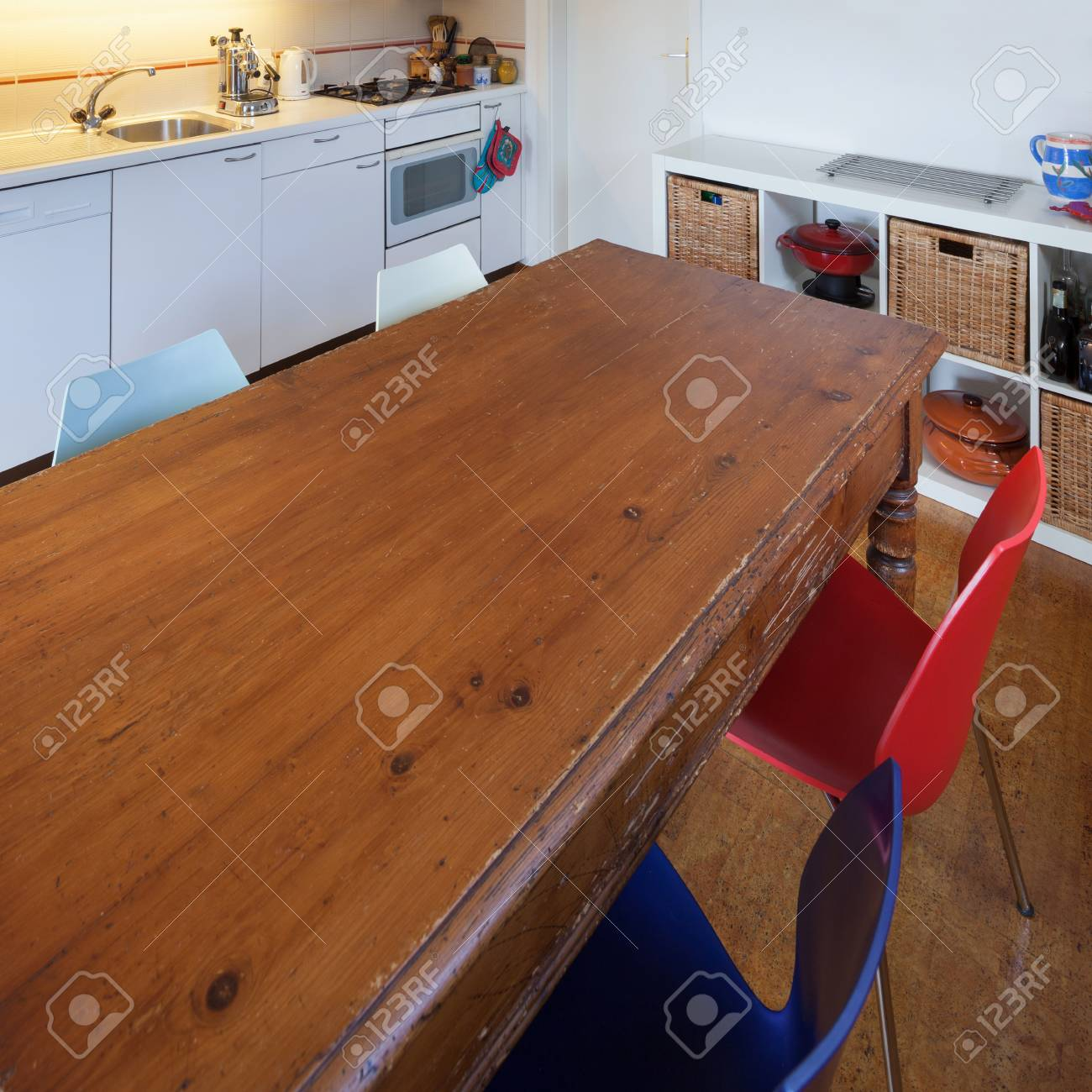 Kitchen Of A Loft Old Wooden Dining Table