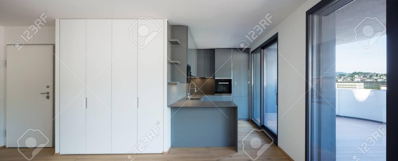 Interno Dell\'arredamento Moderno, Cucina Dell\'isola. Nessuno Dentro ...