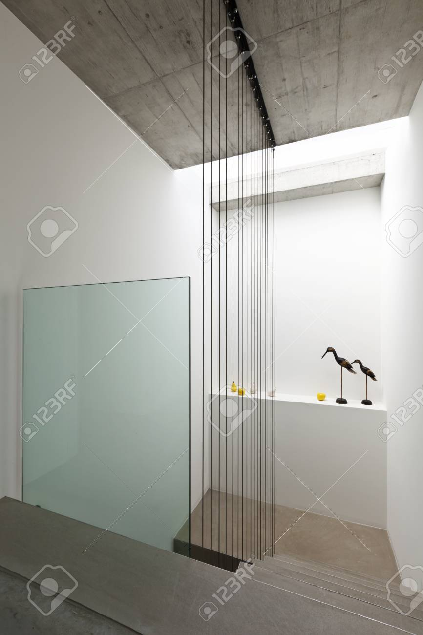 Beautiful modern house in cement interior staircase stock photo 84915862