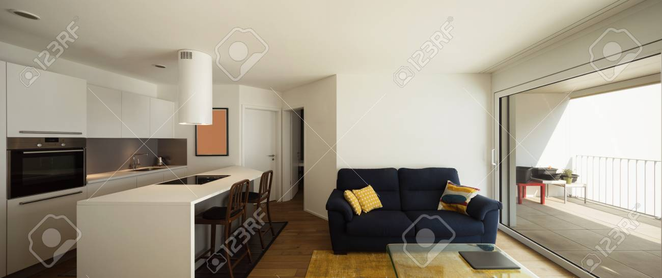 Moderner Offener Raum Mit Eleganter Küche Und Wohnzimmer . Niemand ...