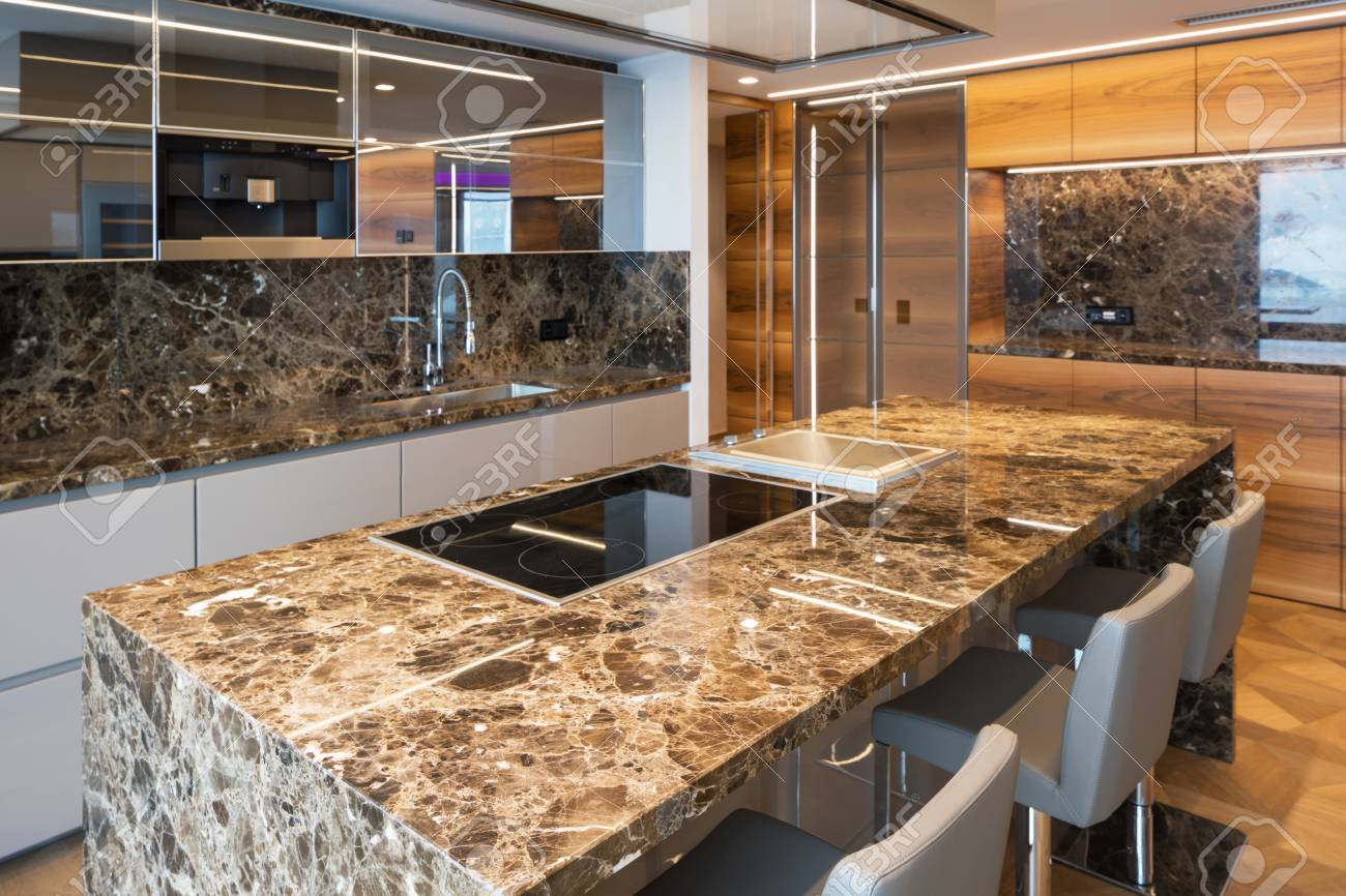 Modern Marble Kitchen With Island Nobody Inside Stock Photo Picture And Royalty Free Image Image 97646664