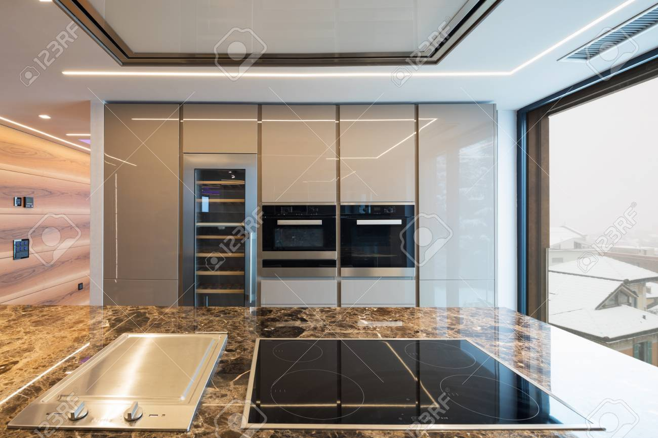 Modern Marble Kitchen With Island Nobody Inside Stock Photo Picture And Royalty Free Image Image 97693492