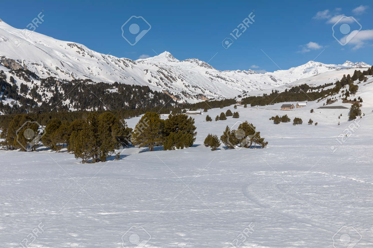 Landscape with lots of snow on Lukmanier in Ticino, on the Swiss alps. No people inside - 165367455