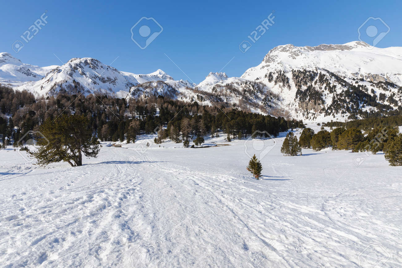 Landscape with lots of snow on Lukmanier in Ticino, on the Swiss alps. No people inside - 165367398