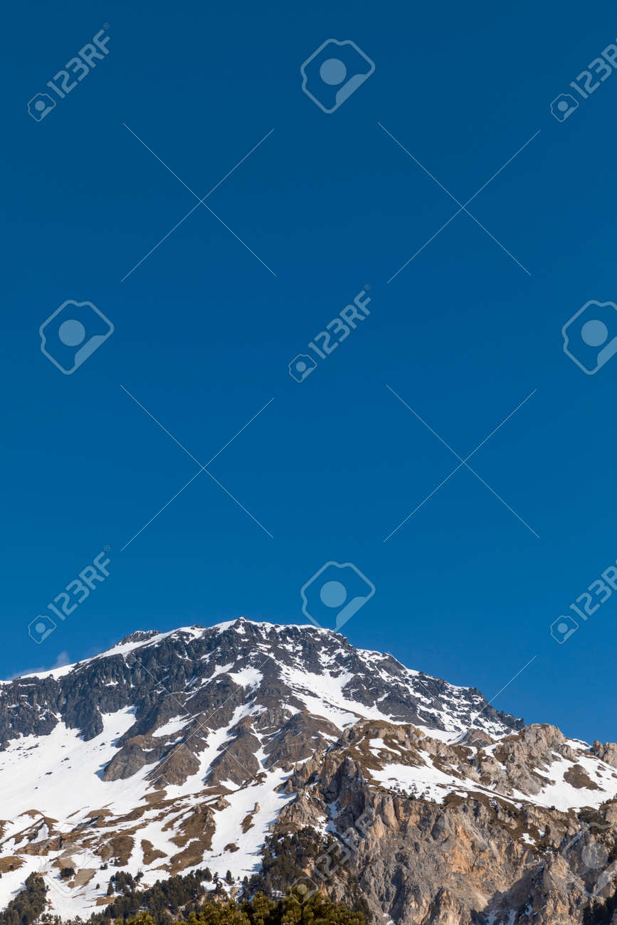 Panorama with lots of snow on Lukmanier in Ticino, on the Swiss Alps. Beautiful closeup of the mountain and blue sky. Nobody inside - 165591481