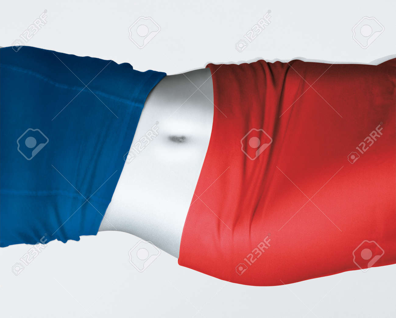 Belly detail with navel of attractive woman with blue shirt and red skirt, represents the flags of France. Studio portrait on white background - 170379922