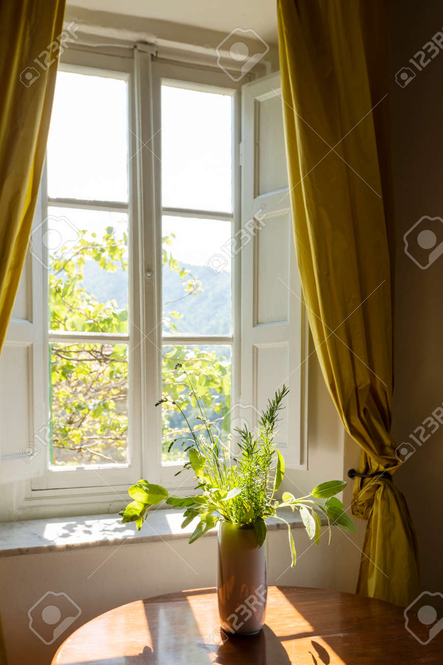 Window seen from the inside on a green and romantic landscape. Conceptual photography looking away - 171301502