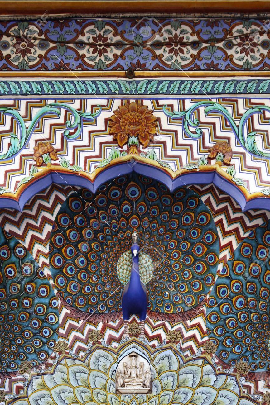 Peacock Gate, City Palace Jaipur, India Stock Photo - 16949637
