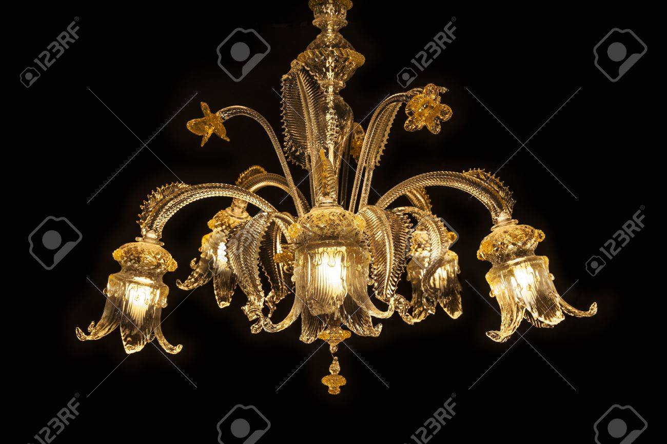 Beautiful Chandelier From Murano Italy Isolated On Black Background Stock Photo Picture And Royalty Free Image Image 19903854