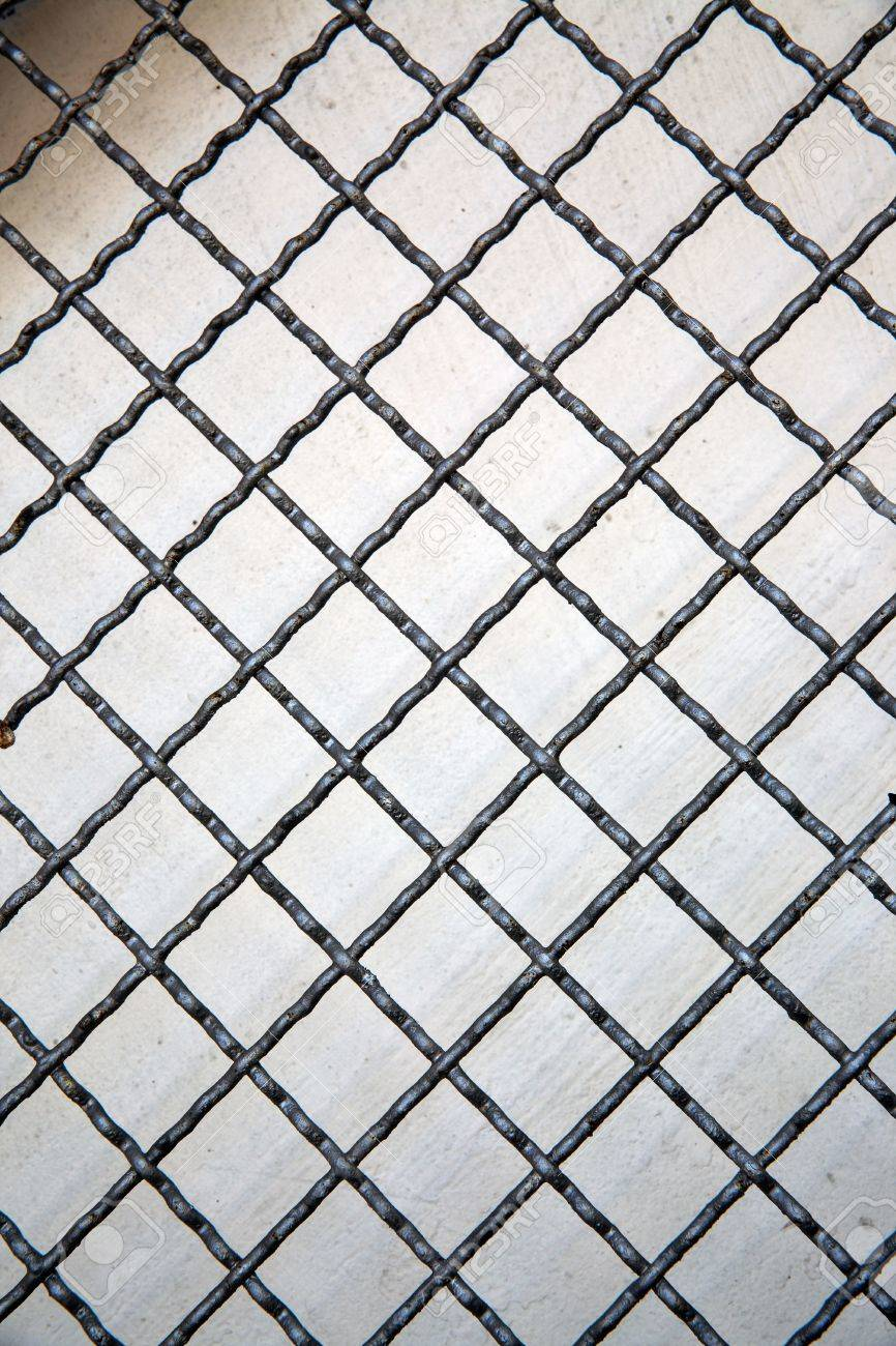 grid line of metal fence pattern background abstract or texture stock photo
