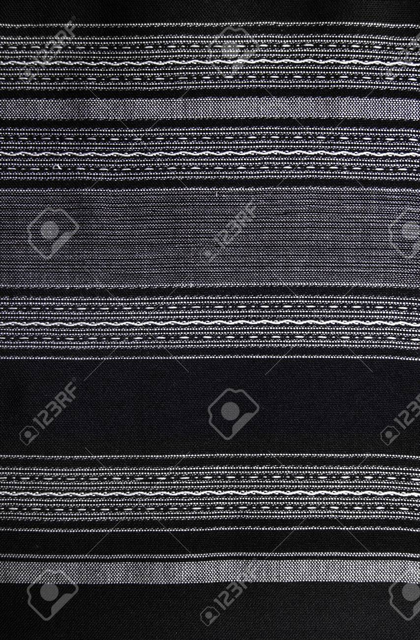 Handmade Thai Cotton   Fabric Background, Abstract, Texture  Handmade Black and white Cotton in traditional style Stock Photo - 21743652