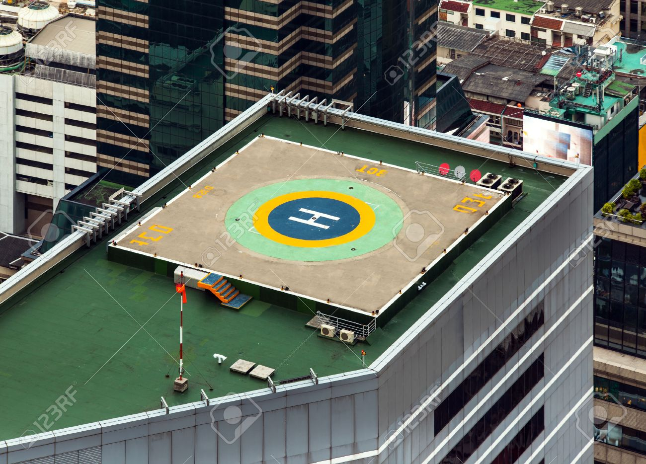 Helipad Helicopter landing pad on roof top building Helicopter landing pad on roof top building in Bangkok, Thailand - 24632370
