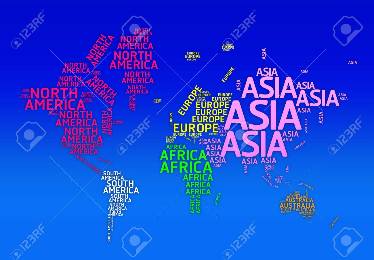 World map with names of continents typo map continents asia world map with names of continents typo map continents asia europe africa gumiabroncs Choice Image