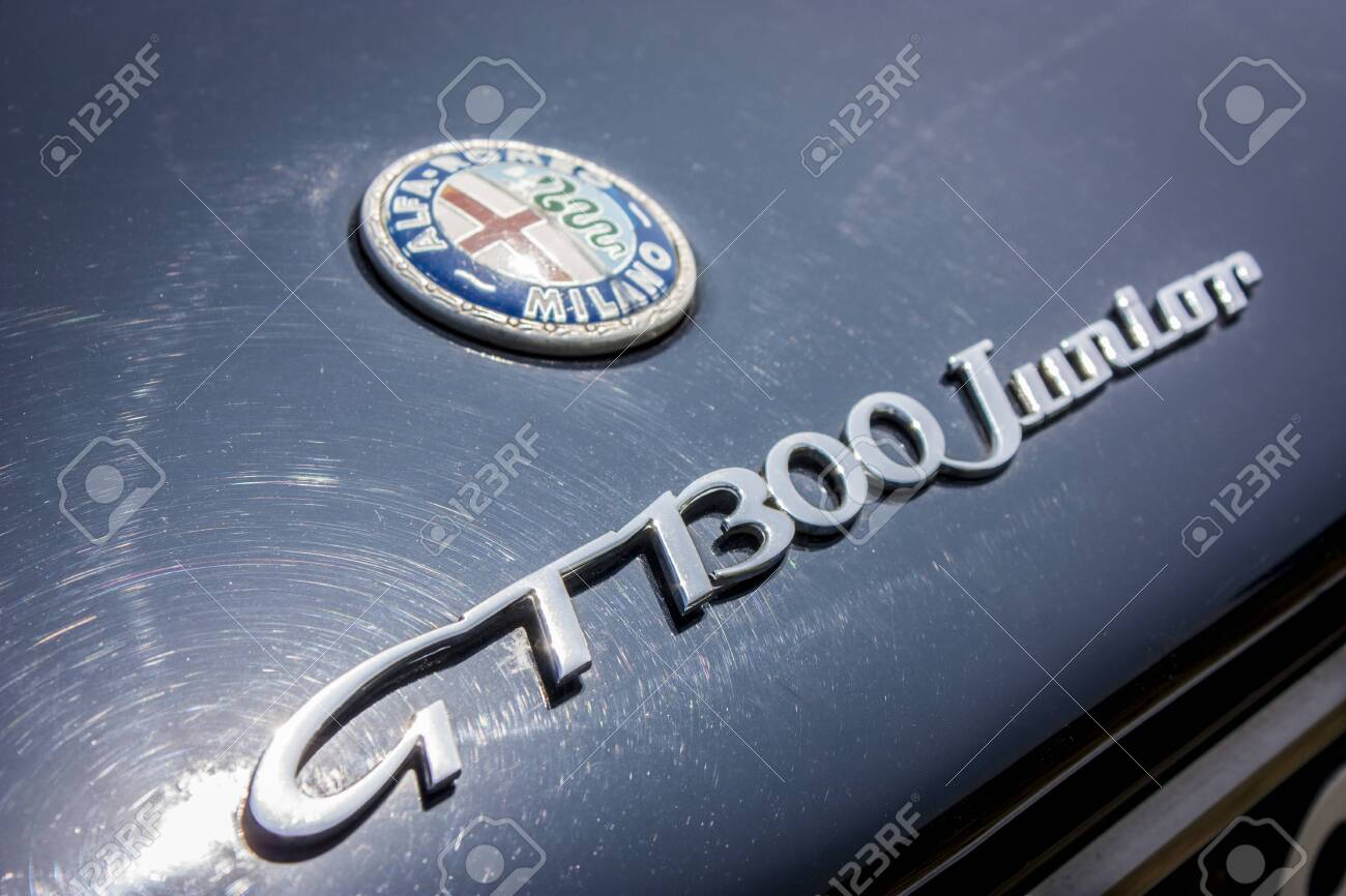 Detail Of The Alfa Romeo Emblem And The Gt 1300 Junior Model Stock Photo Picture And Royalty Free Image Image 136574903