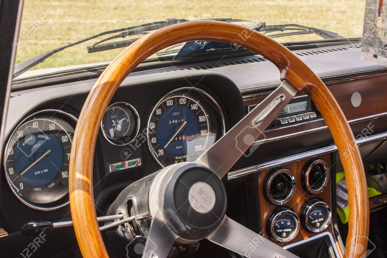 Whole Dashboard With Steering Wheel Of An Old Alfa Romeo Vintage Stock Photo Picture And Royalty Free Image Image 136574893