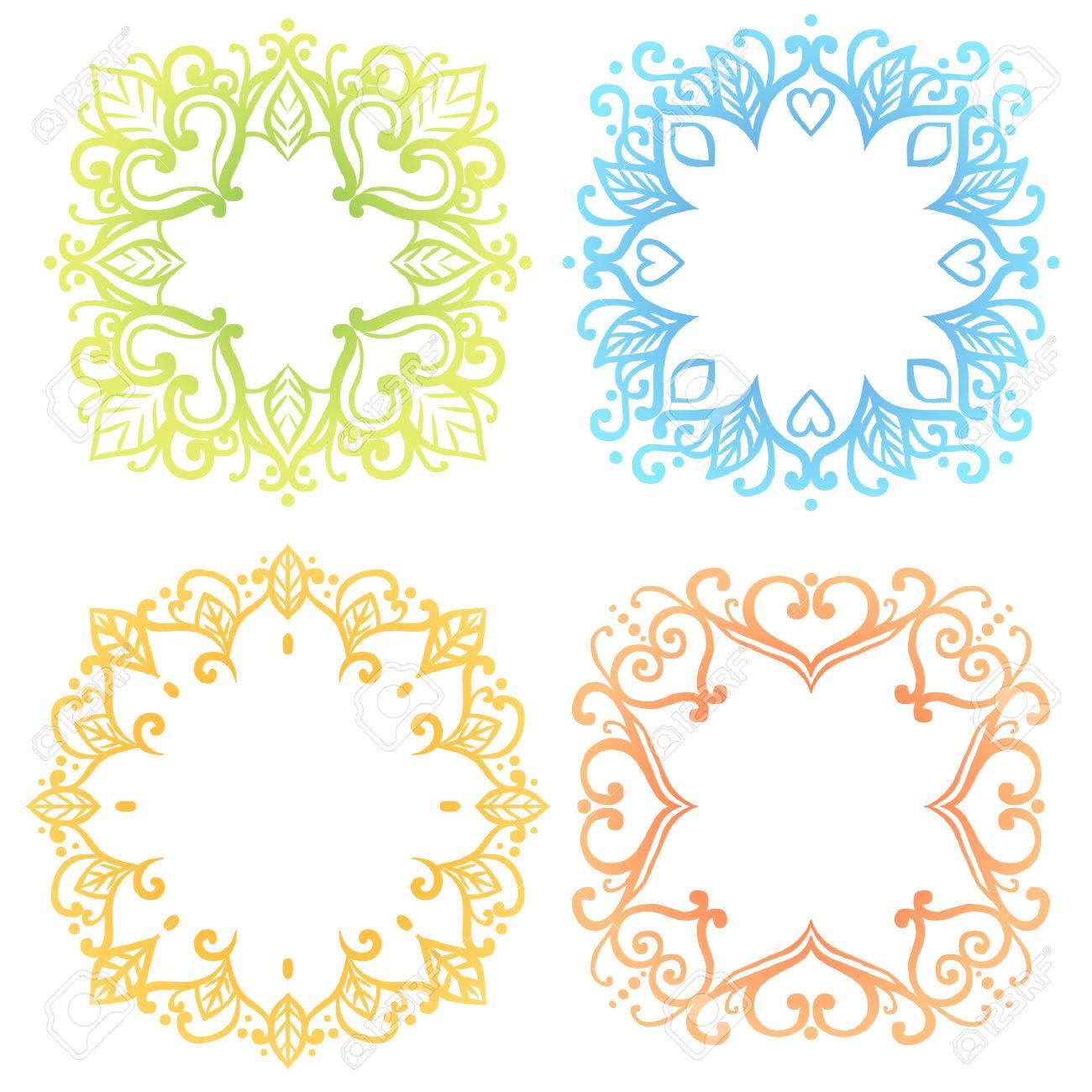 Marcos Hermosas En Tonos Pastel Suaves. Elementos De Diseño Floral ...