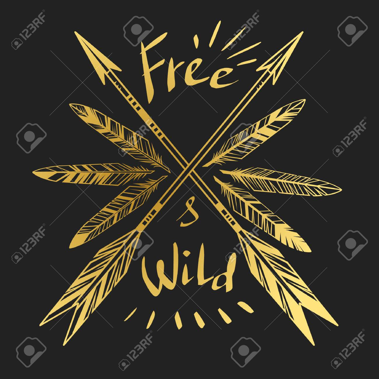 Arrows And Feathers On Black Background Royalty Free Cliparts Vectors And Stock Illustration Image 48775845
