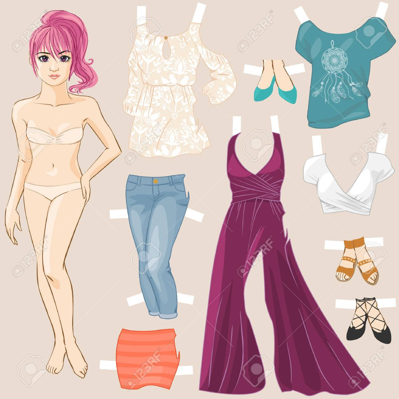 Vector young pretty girls hand drawn in anime style dress up doll vector illustration