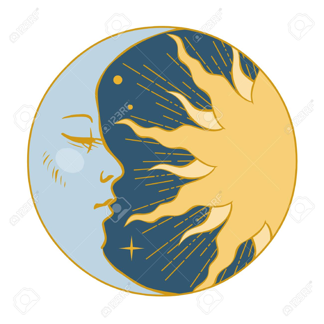 Moon and Sun. Vector illustration in vintage style - 93045900
