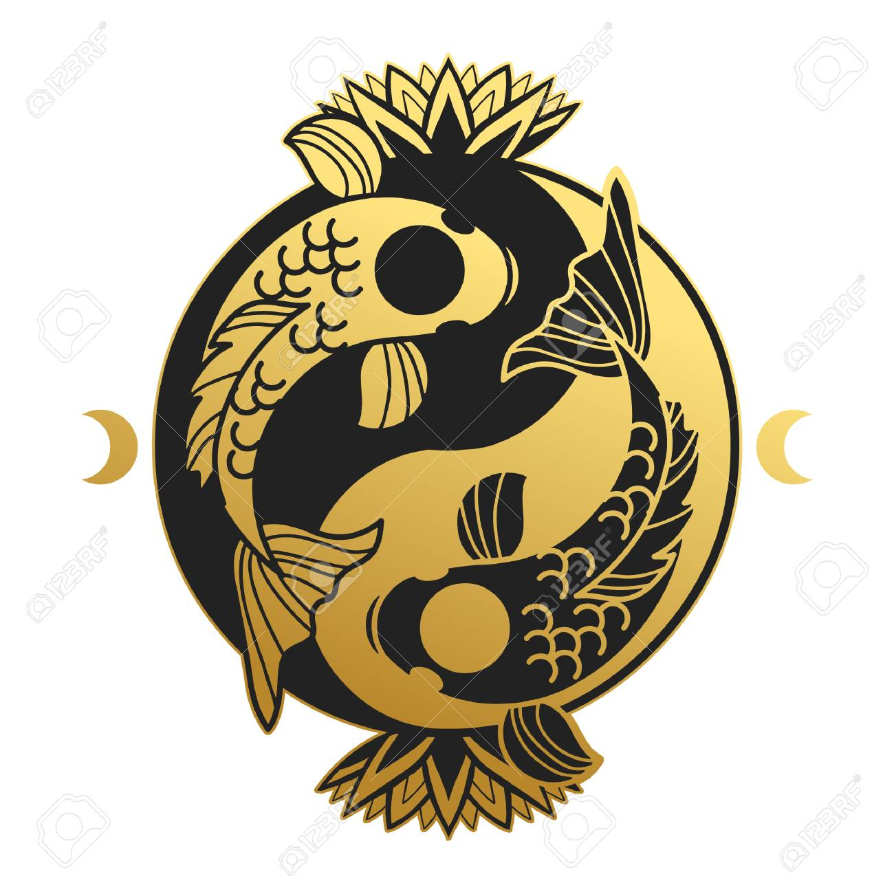 Yin And Yang Symbol With Koi Fishes Vector Illustration Royalty Free Cliparts Vectors And Stock Illustration Image 97805696