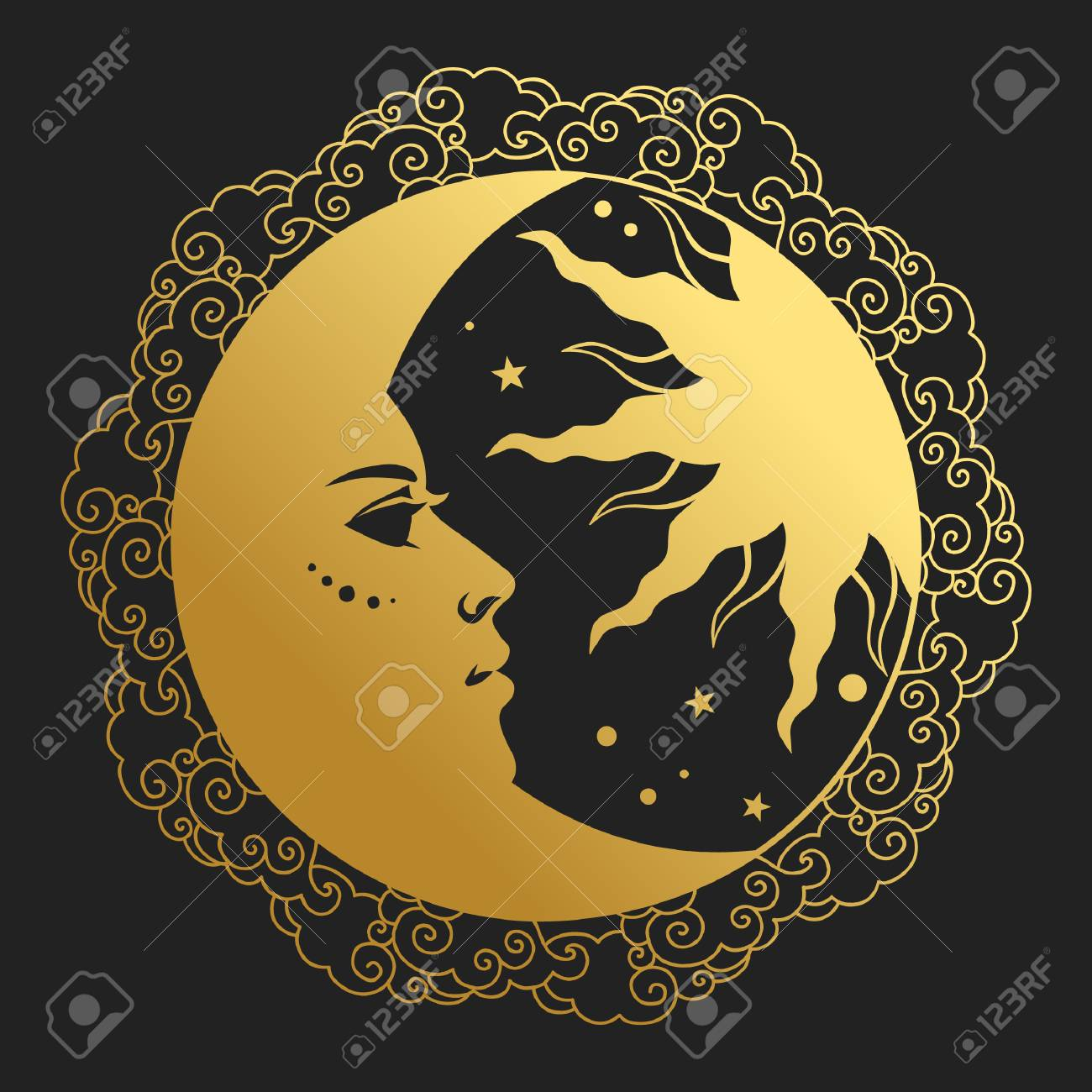 Moon and Sun in round frame. Vector illustration in retro style - 98834020