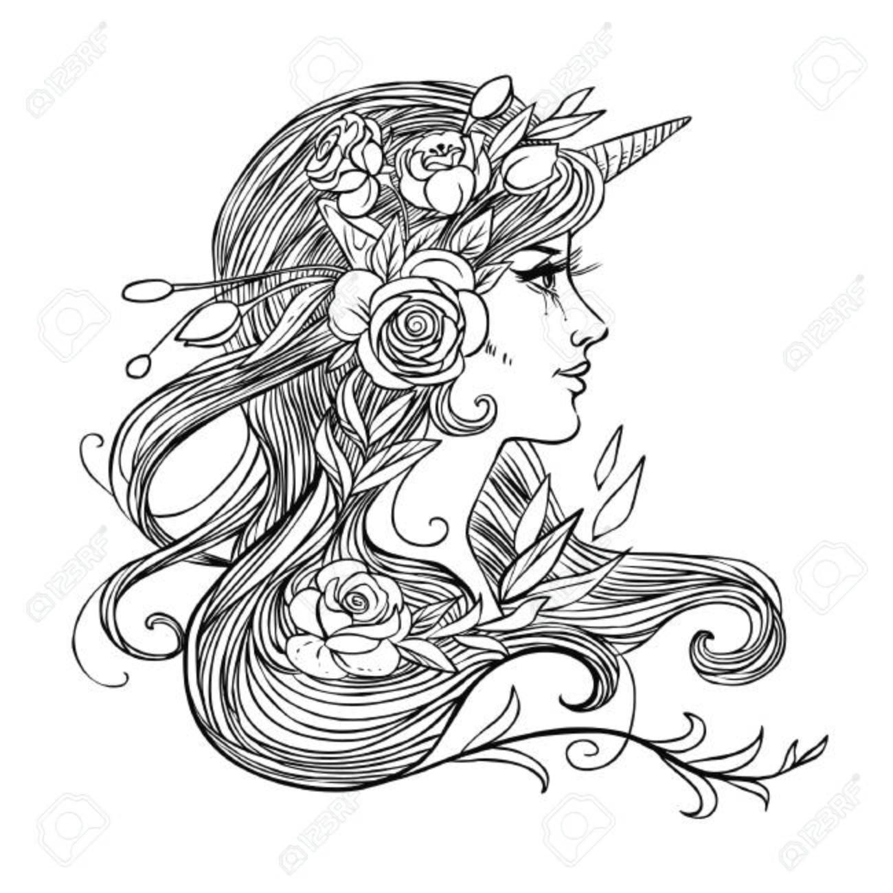 Pretty Girl In Unicorn Headdress Vector Hand Drawing Illustration