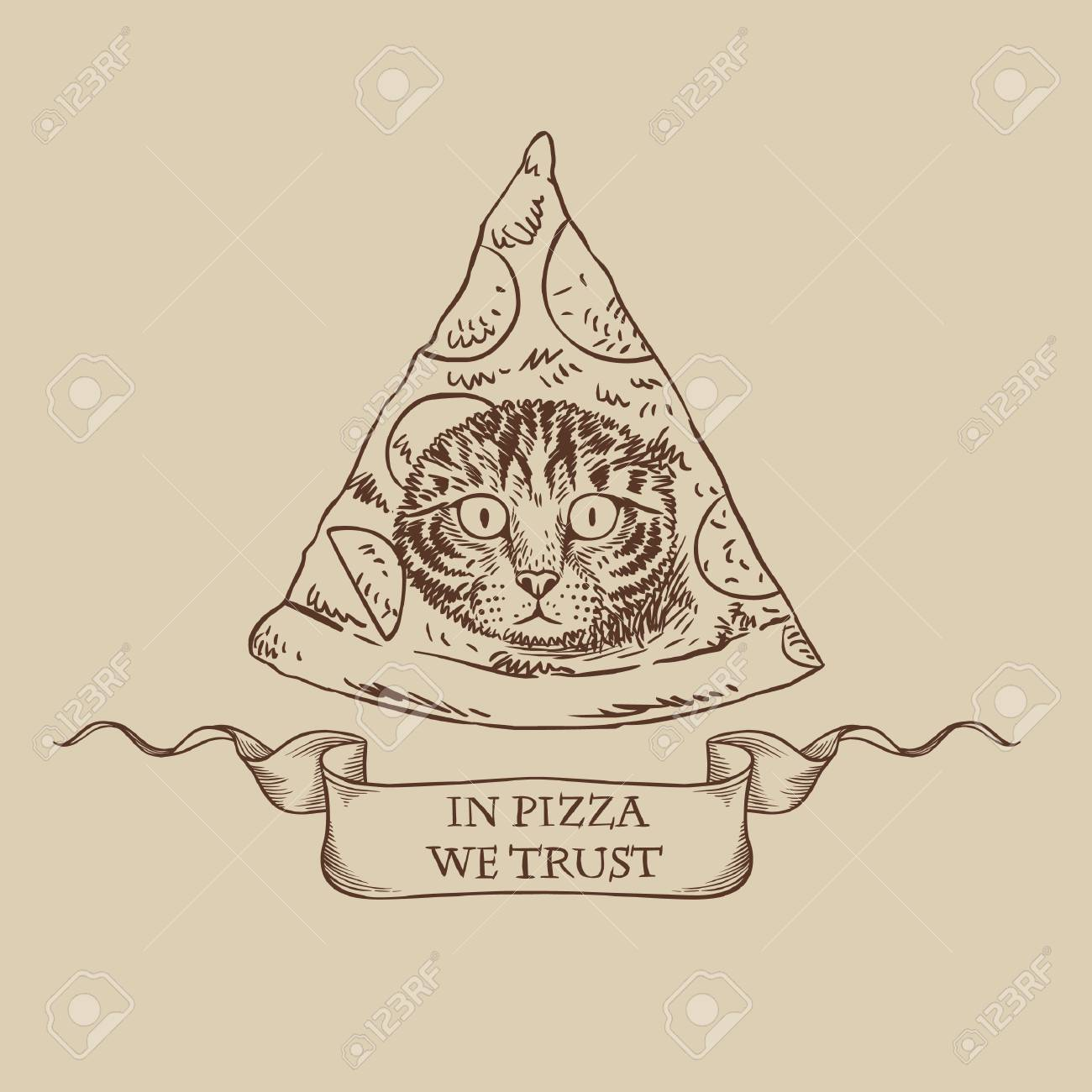 Funny Masonic Symbol With Pizza And Cat Vector Template For