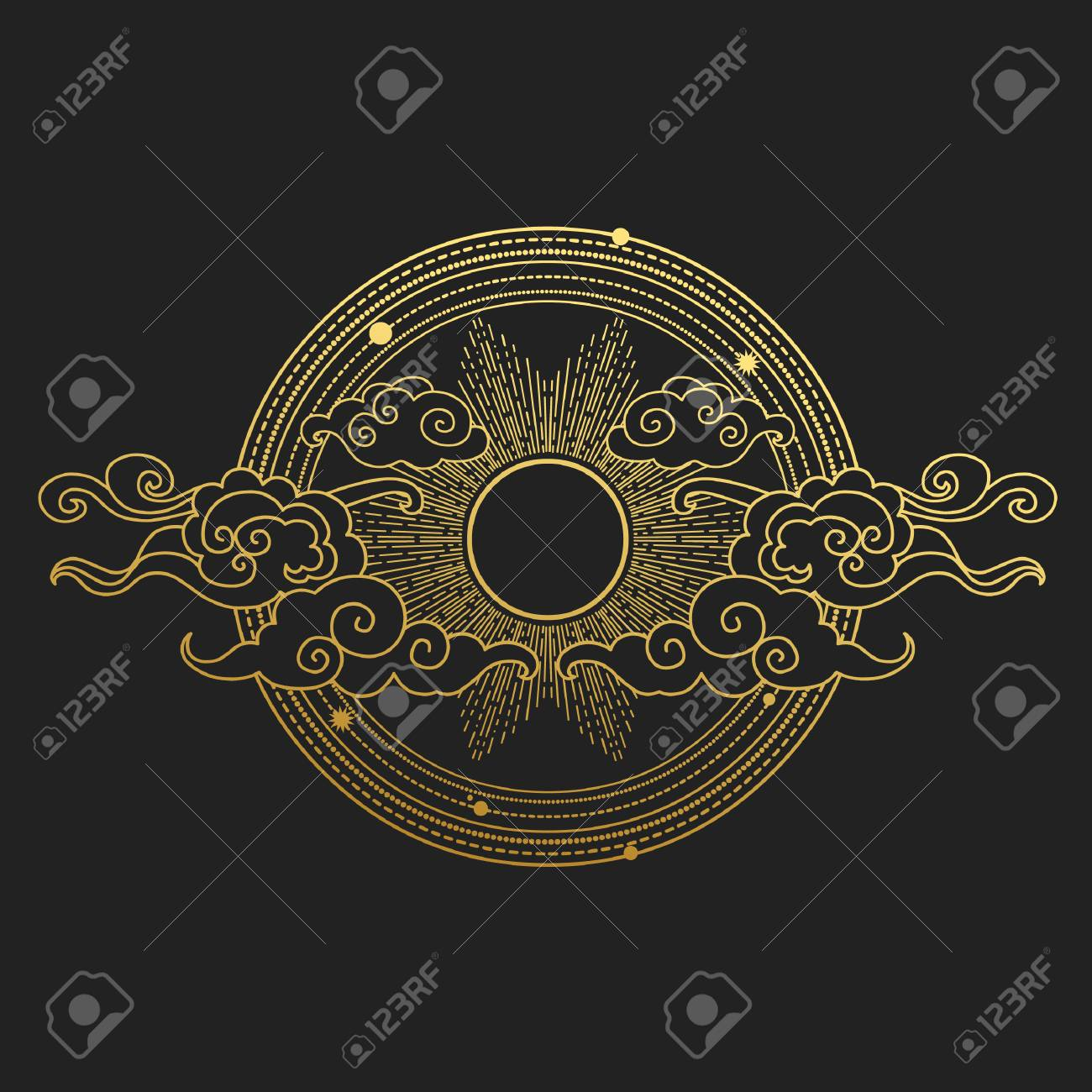 Sun in the cloudy sky. Decorative graphic design elements in oriental style. Vector hand drawn illustration - 105230785