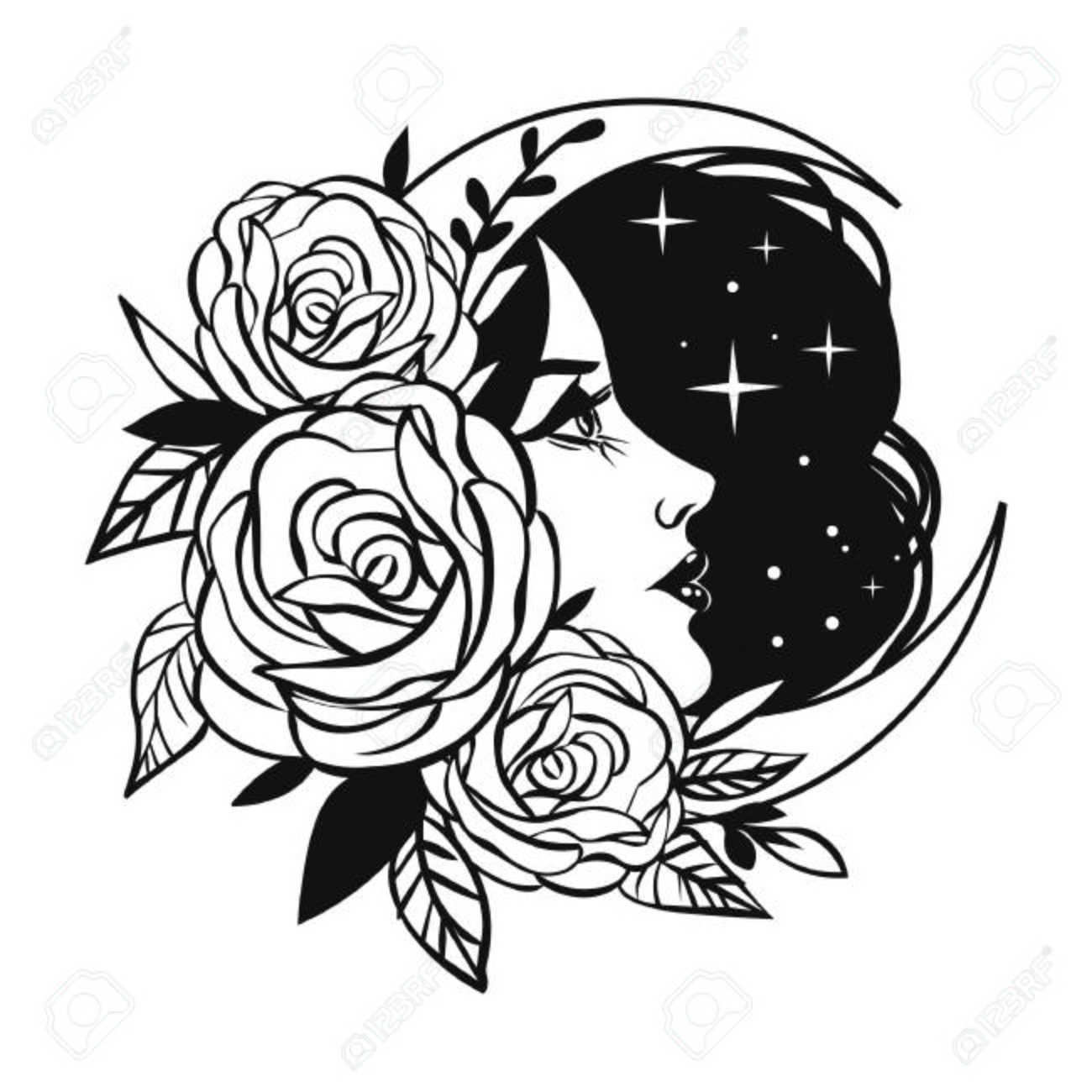 Female face with roses, Moon and stars. Vector hand drawn tattoo sketch - 110206716