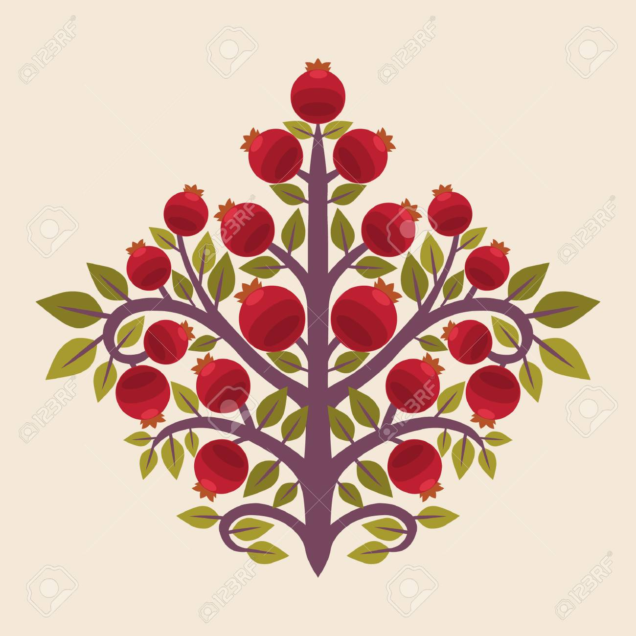 Pomegranate Tree Vector Illustration In Ethnic Style Royalty Free Cliparts Vectors And Stock Illustration Image 110206794