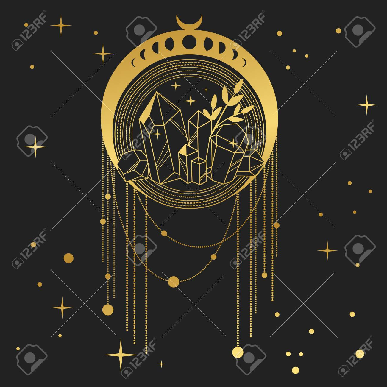 Dream catcher with crystals and moon phases. Vector hand drawn illustration in boho style - 116738550